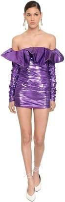 ATTICO Whit Maxi Peplum Lame Mini Dress