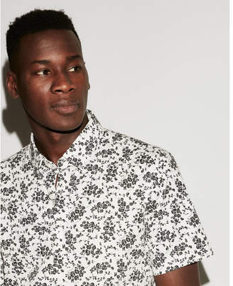 Express slim floral button down short sleeve shirt