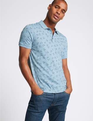 Marks and Spencer Slim Fit Pure Cotton Printed Polo Shirt
