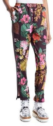 Moncler Floral-Print Straight-Leg Track Pants