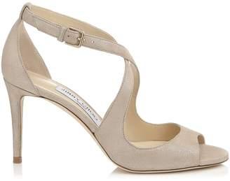 Jimmy Choo EMILY 85 Sand Shimmer Suede Sandals