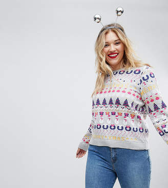 Asos Foundation Curve All Things Christmas Jumper In Metallic Yarn