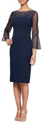 Alex Evenings Illusion Bell Sleeve Sheath Dress