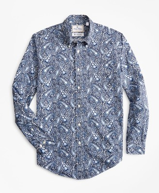 Brooks Brothers Luxury Collection Madison Classic-Fit Sport Shirt, Button-Down Collar Large Paisley Print