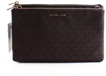 Michael Kors Leather Double Zip Crossbody - BROWN - STYLE