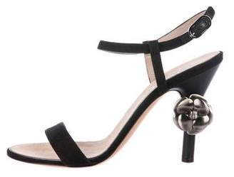 Chanel Canvas Ankle Strap Sandals