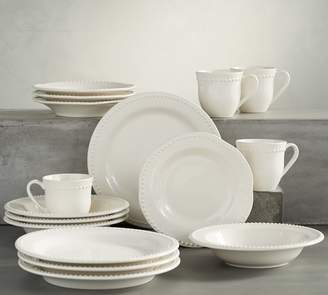 Pottery Barn Emma Dinnerware 16 Piece Set with Soup Bowl - White
