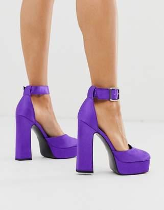 Asos Design DESIGN Presta square toe platform high heels in purple satin
