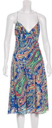 Ralph Lauren Silk Paisley Print Midi Dress