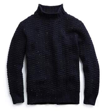 Inis Meain Moss Stitch Mock neck in Navy Marl