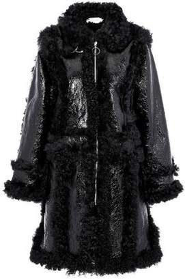 Marques Almeida Marques' Almeida Crinkled Patent-Leather And Shearling Coat