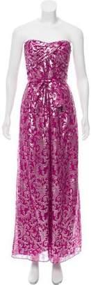 Nicole Miller Strapless Silk Evening Dress