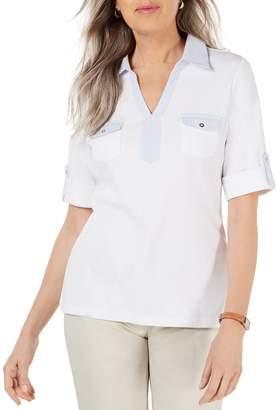 Karen Scott Colourblock Cotton T-Shirt