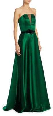 Theia Strapless Illusion Insert Belted Gown