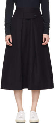 Studio Nicholson Navy Trick Tab-Front Midi Skirt