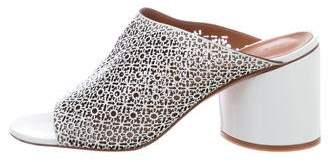Robert Clergerie Cara Perforated Leather Mules w/ Tags