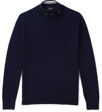 Ermenegildo Zegna Slim-Fit Suede-Trimmed Waffle-Knit Wool Half-Zip Sweater