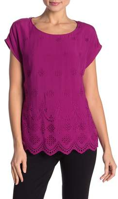 Vince Camuto Scalloped Eyelet Top