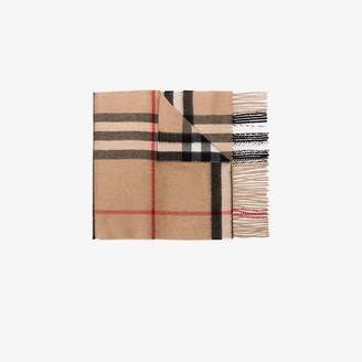 Burberry camel brown iconic checked cashmere scarf