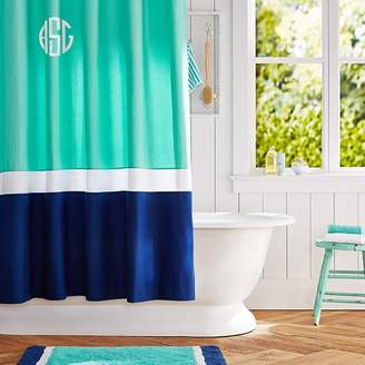 Pottery Barn Teen Color Block Shower Curtain (Girl), Pool/ Royal Navy, One Size