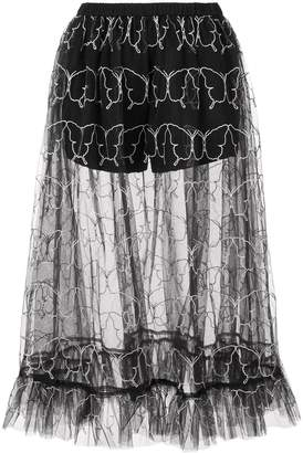 Sandy Liang butterfly embroidery tulle skirt