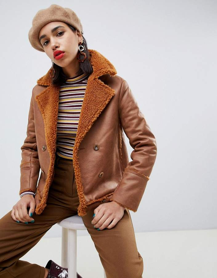 Side Party Mina faux sheepskin double-breasted coat
