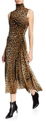 Fuzzi Leopard-Print Turtleneck Sleeveless Ruched Dress