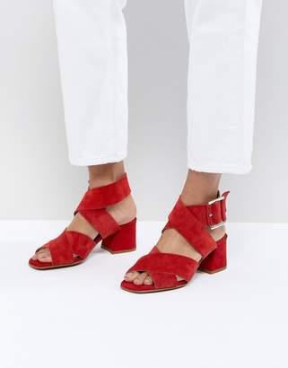 Asos Design DESIGN Tosh Suede Crossover Block Heeled Sandals