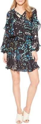 Parker Gigi Ruffle Sleeve Silk Blend Dress