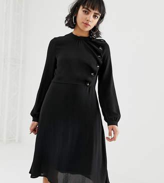 Vero Moda Petite button detail skater dress in black
