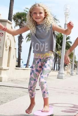 Limeapple Pineapple Print Leggings (Little Girls & Big Girls)