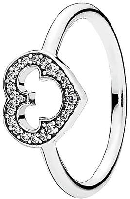 Pandora Disney Jewelry Collection Silver Cz Mickey Silhouette Ring
