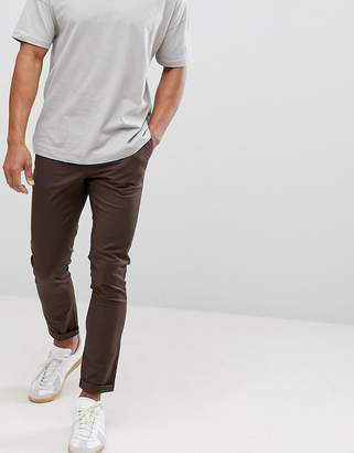 Asos DESIGN skinny chinos in dark brown