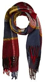 Barneys New York WOMEN'S PLAID FRINGED SCARF
