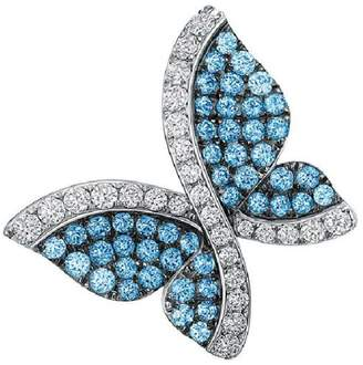 Swarovski 18K White Gold Blue Topaz and Diamond Butterfly Pendant Necklace