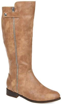 05aa403b39e Journee Collection Womens Kasim Wide Calf Stacked Heel Zip Riding Boots