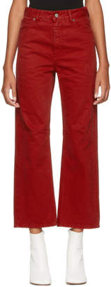 MM6 MAISON MARGIELA Red Garment-Dyed Jeans