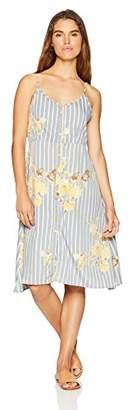 Oasis Wild Women's Bodice Floral Printed Tank Dress Button Detailing & Spaghetti Straps