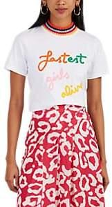 """Mira Mikati Women's """"Fastest Girls Alive"""" Cotton T-Shirt - White"""
