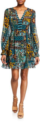 Nanette Lepore Cactus Flower V-Neck Long-Sleeve Dress