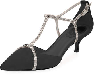 Rene Caovilla Suede Pumps with Strass Cage