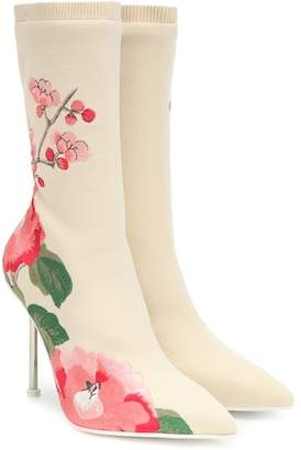 Alexander McQueen Printed stretch-knit ankle boots