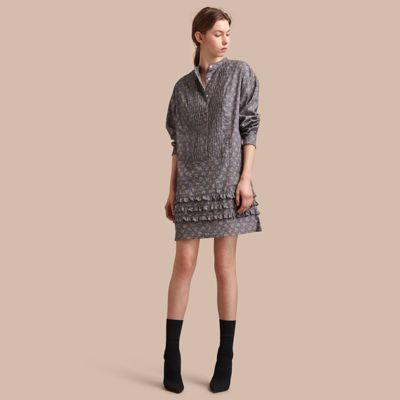 Burberry Burberry Pintuck Bib Leaf Print Cotton Shirt Dress
