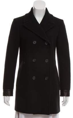 Tom Ford Leather-Trimmed Virgin Wool Coat