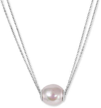 Majorica Sterling Silver Organic Man-Made White Pearl Pendant Necklace (14mm)