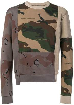 Off-White reconstructed camouflage-print sweatshirt