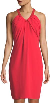 Carmen Marc Valvo Sleeveless Bead-Neck Crepe Cocktail Dress