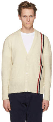 Thom Browne White Classic V-Neck Stripe Cardigan