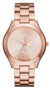 Michael Kors Slim 3591 Runway Rose Goldtone Stainless Steel Bracelet Watch