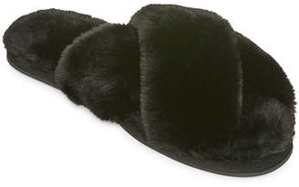 b791af44c260 MIXIT Mixit Fuzzy Cross Band Slip-On Slippers